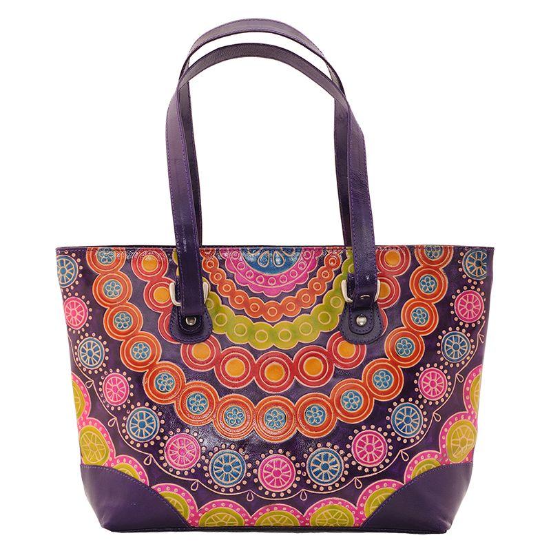 Dámská kožená kabelka Květy fialová