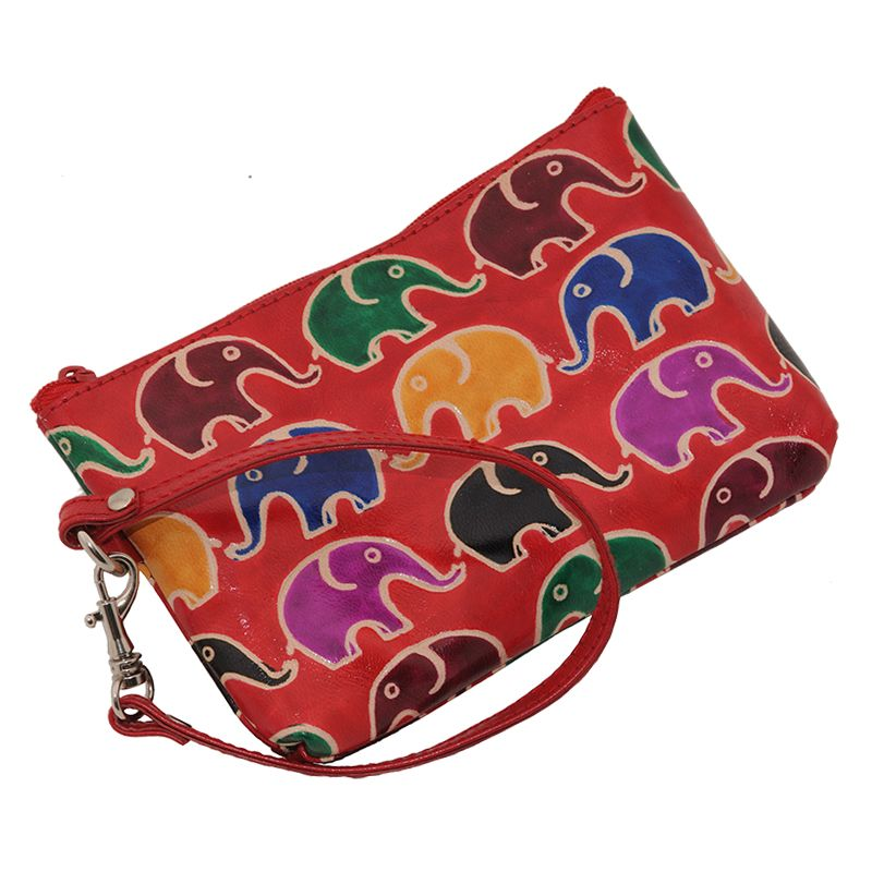 Dámská kožená kabelka s poutkem na zápěstí L Sloni červená