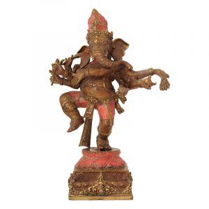 Soška Ganesh kov 32 cm červený