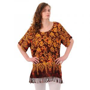 Dámská halenka batikovaná BOB Neobaju Květy červená