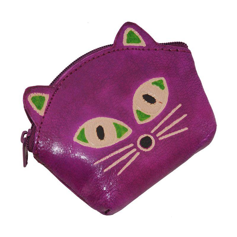 Kožená peněženka na drobné Kočička purpurová