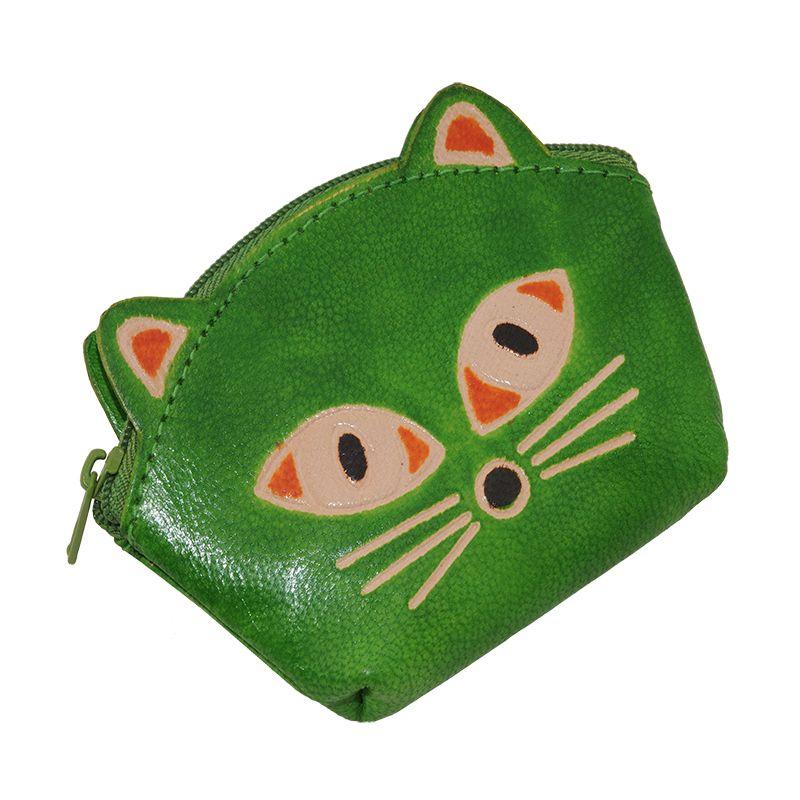 Kožená peněženka na drobné Kočička limetková