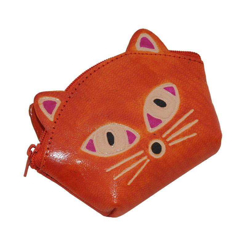 Kožená peněženka na drobné Kočička oranžová | SoNo spol. s r.o.