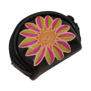 Kožená peněženka na drobné Květ černá | SoNo spol. s r.o.