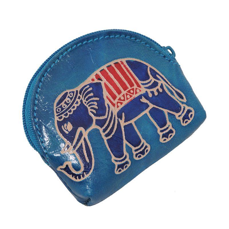 Kožená peněženka na drobné Slon modrá | SoNo spol. s r.o.