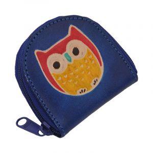 Kožená peněženka na drobné Sova modrá