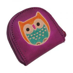 Kožená peněženka na drobné Sova fialová