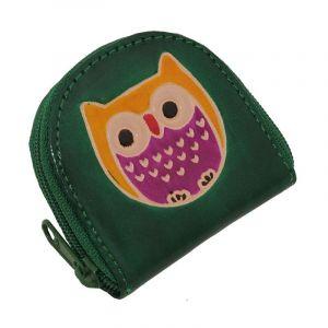 Kožená peněženka na drobné Sova zelená | SoNo spol. s r.o.
