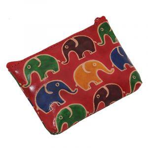 Kožená peněženka na drobné Sloni červená | SoNo spol. s r.o.
