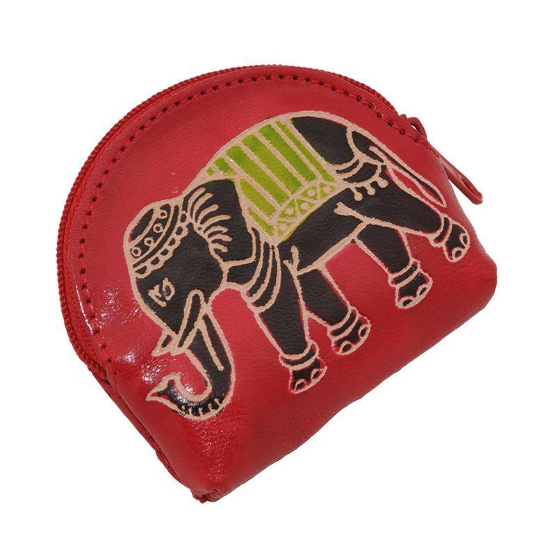 Kožená peněženka na drobné Slon červená