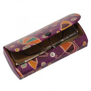 Kožené pouzdro na brýle Deštníky fialové