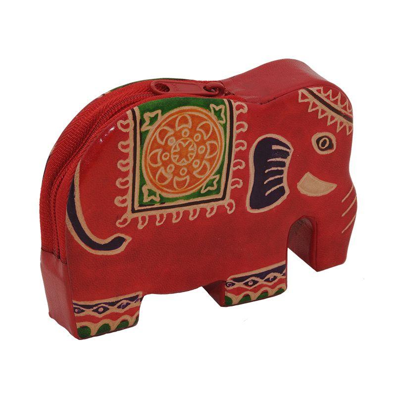 Kožená peněženka na drobné Elefant červený