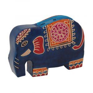 Kožená peněženka na drobné Elefant modrý