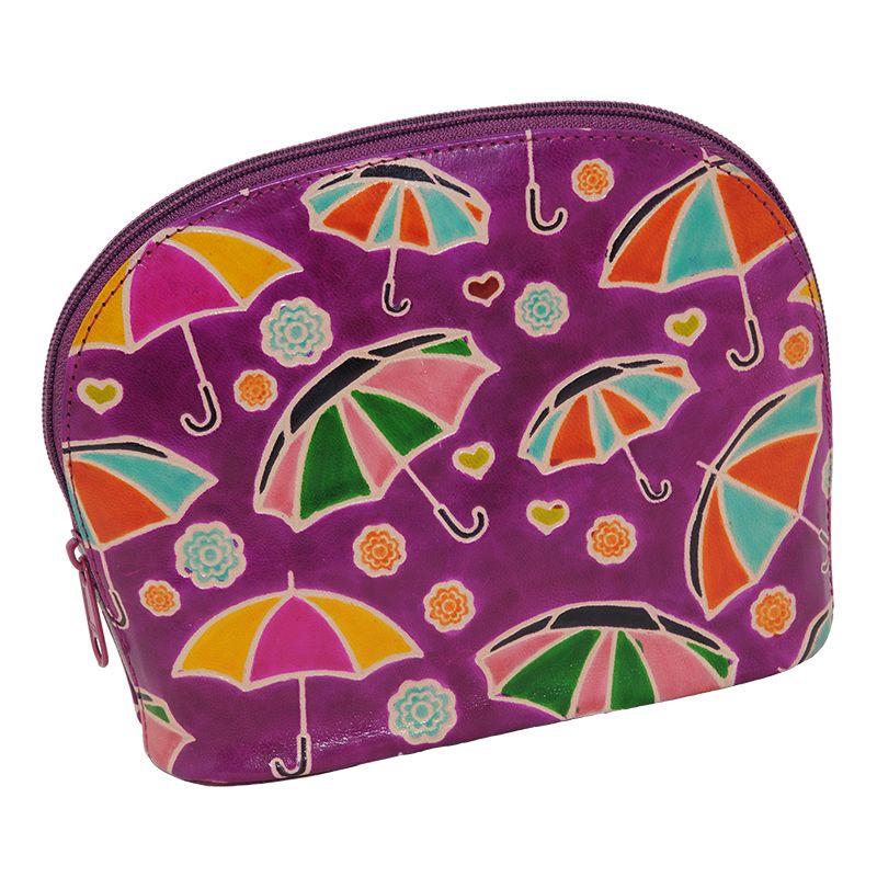 Kožená toaletní kabelka Deštníky fialová | SoNo spol. s r.o.