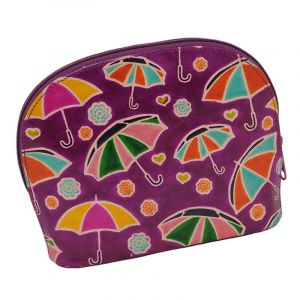 Kožená toaletní kabelka Deštníky fialová