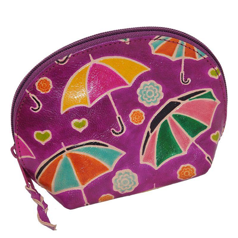 Kožená toaletní kabelka Deštníky fialová M | SoNo spol. s r.o.