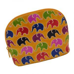 Kožená toaletní kabelka Sloni žlutá