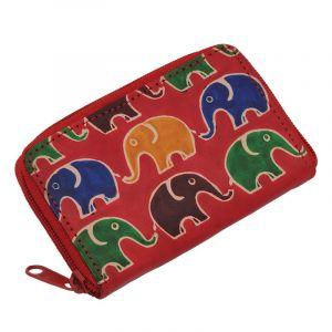 Kožené pouzdro Cute Sloni červená
