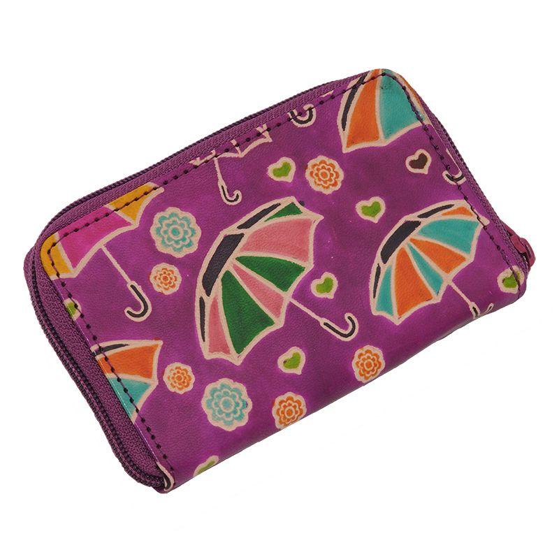 Kožené pouzdro Cute Deštníky fialové