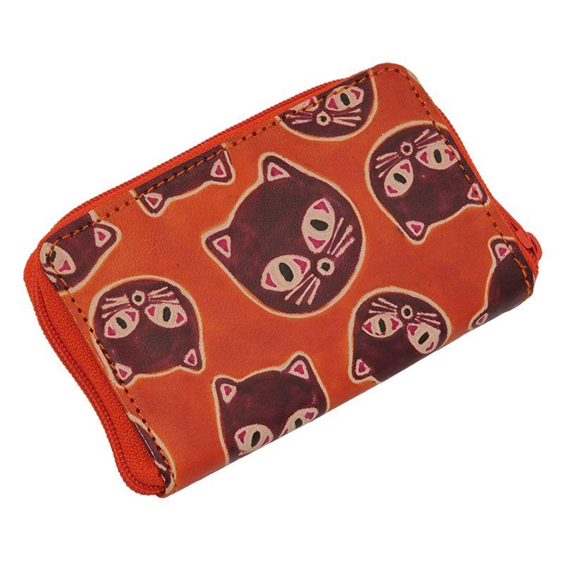 Kožené pouzdro Cute Kočky oranžové