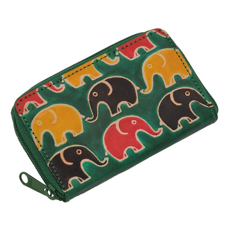 Kožené pouzdro Cute Sloni zelená