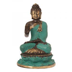 Soška Buddha kov 17 cm zelená