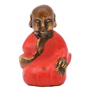 Soška Buddhistický mnich kov 06 cm červená III