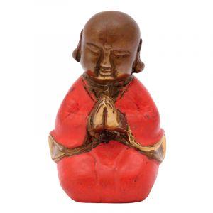 Soška Buddhistický mnich kov 7,5 cm červená II