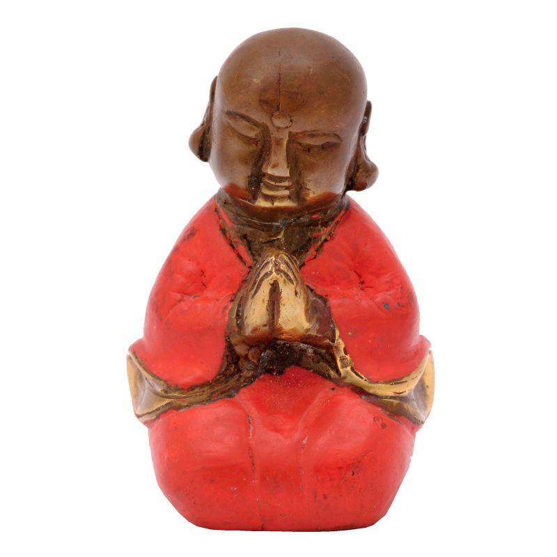 Soška Buddhistický mnich kov 7,5 cm červená II | SoNo spol. s r.o.
