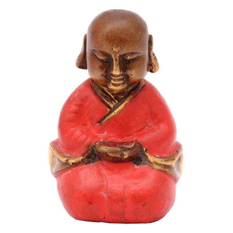 Soška Buddhistický mnich kov 7,5 cm červená III | SoNo spol. s r.o.