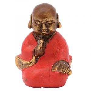 Soška Buddhistický mnich kov 07,5 cm červená IV