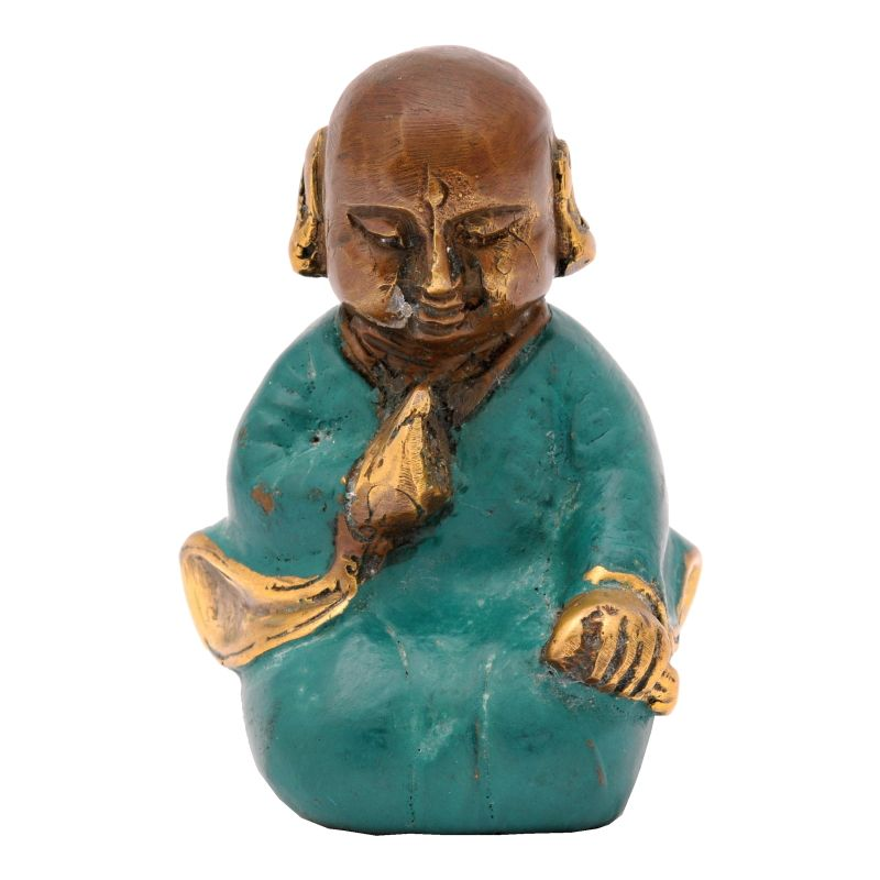 Soška Buddhistický mnich kov 7,5 cm zelená II | SoNo spol. s r.o.