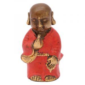 Soška Buddhistický mnich kov 08 cm červená II