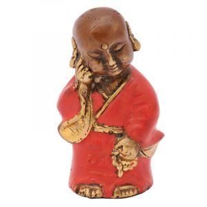 Soška Buddhistický mnich kov 08 cm červená I