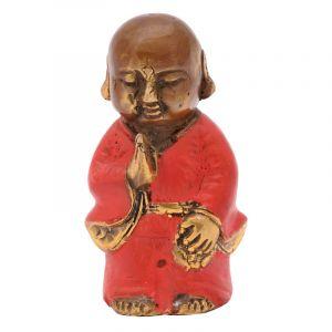 Soška Buddhistický mnich kov 09 cm červená