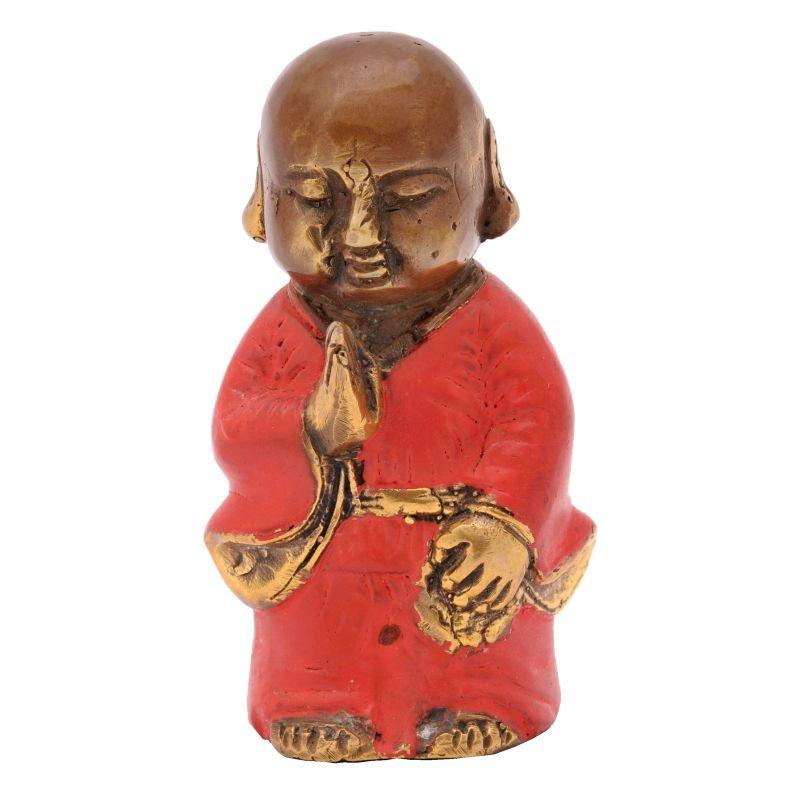 Soška Buddhistický mnich kov 9 cm červená