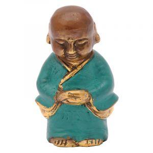 Soška Buddhistický mnich kov 09 cm zelená I
