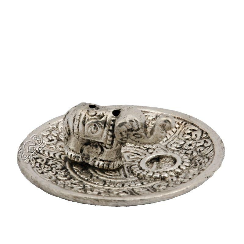 Stojánek na vonné tyčinky a františky - talířek kov Slon 7 cm