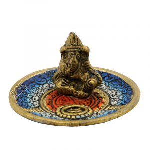 Stojánek na vonné tyčinky - talířek kov Ganesh barevný