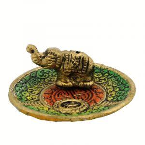 Stojánek na vonné tyčinky - talířek kov Slon barevný