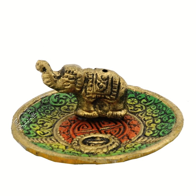Stojánek na vonné tyčinky a františky - talířek kov Slon 7 cm barevný