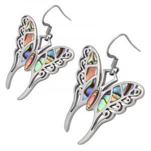 Stříbrné náušnice s paua perletí Ag 6,6 g motýl | SoNo spol. s r.o.