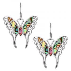Stříbrné náušnice paua perleť Ag 6,6 g motýl
