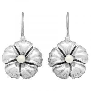 Stříbrné náušnice perla Ag 6,5 g květ