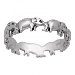Stříbrný prsten Ag 2,9 g sloni