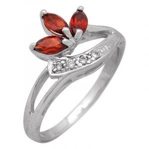 Stříbrný prsten s granáty a zirkony Ag 2,6 g   SoNo spol. s r.o.