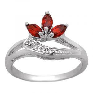 Stříbrný prsten s granáty a zirkony Ag 2,6 g | SoNo spol. s r.o.