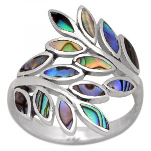 Stříbrný prsten paua Ag 3,7 g listy