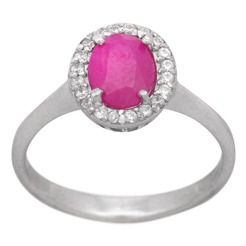 Stříbrný prsten s rubínem a zirkony Ag 2,6 g | SoNo spol. s r.o.