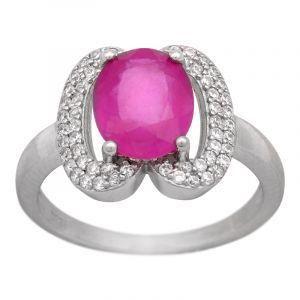 Stříbrný prsten rubín a zirkony Ag 3,7 g